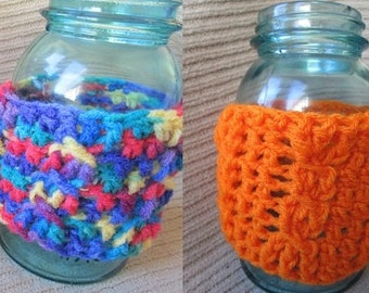 Spring SHOP EVENT Mason Jar Cozy, Cabled, Jar Sleeve, Free Shippng RTS