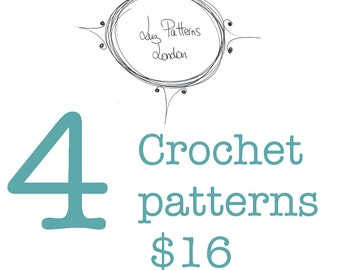 Crochet pattern, Crochet purse patterns 4 patterns for only 16 dollars, lovely collection of crochet totes and bags patterns