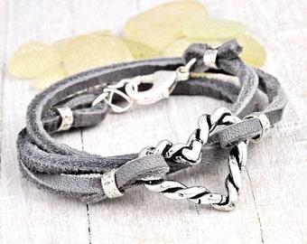 Twisted Heart Boho Wrap - Heart Jewelry - Leather Wrap Bracelet - Heart Jewelry - B397