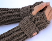 Coco brown arm warmers, fingerless gloves, texting gloves, crochet gloves, boho gloves, hand warmers, mittens, boho fashion, button gloves
