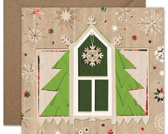 Christmas Window with a Tree Decor Element Greeting card or greeting card set