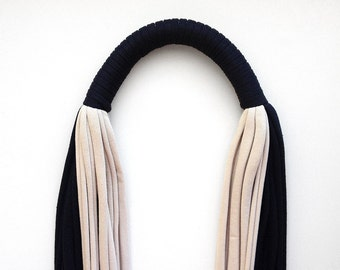 Infinity scarf, statement necklace, gifts for women - The colorblock noodle scarf - handmade in black and ivory jersey cotton fabric