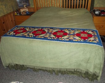 Stained Glass Hand Quilted Bed Runner