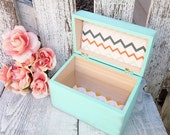 Mint/ Seafoam GREEN SHABBY CHIC Antiqued Birch Wood Recipe Box