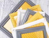 Grey Yellow Picture Frames - Set of 10 Painted Shabby Chic Frames, Vintage Antique White Grey and Yellow