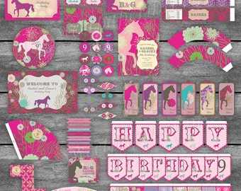 Equestrian Horse Birthday Party Decorations - Large Pink and Purple - Pack Set Package - Digital Printable