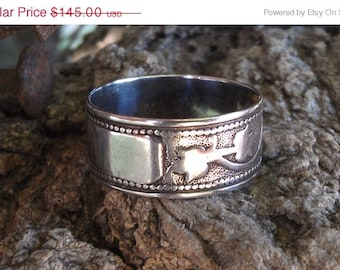 Antique Sterling Silver Rosebud Wedding Band Engravable