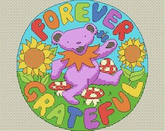Cross stitch PATTERN, Grateful Dead dancing bear, instant download, downloadable pdf. Cross stitch chart, colorful, home decor, picture