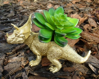 Metallic Gold Triceritops Dinosaur Planter for Succulents and Small Cacti