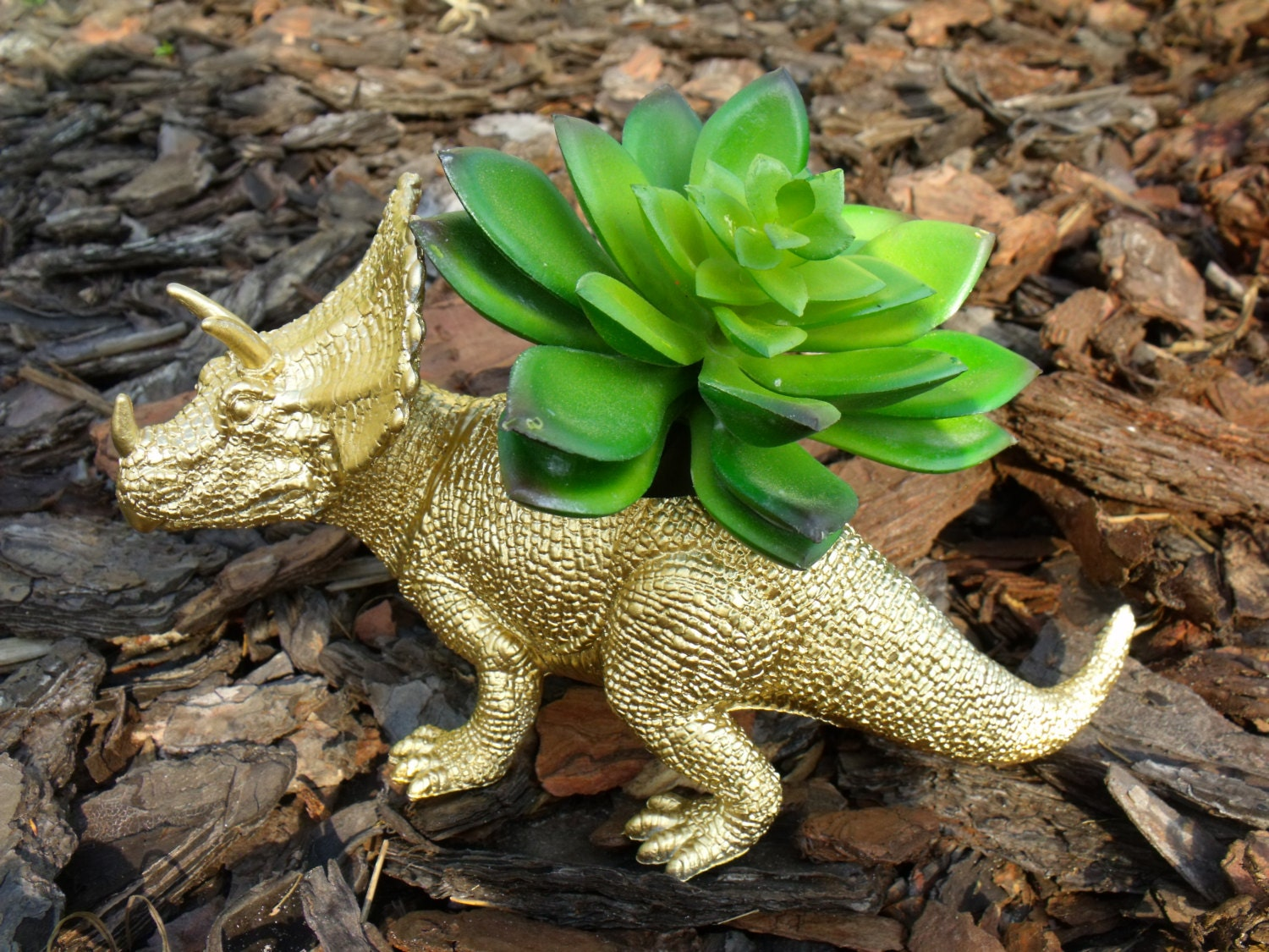 Metallic Gold Triceritops Dinosaur Planter For Succulents And