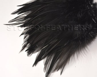 BLACK rooster saddle feathers for millinery, fly fishing, fascinators, boutineers, crafts and more, 4-7 in (10-18 cm) long / F140-5