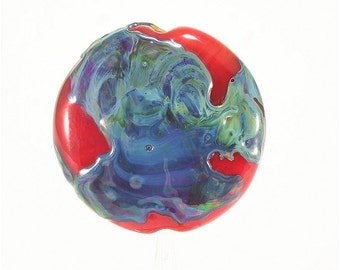 Lampwork Glass Bead Handmade Lentil Shaped Focal Red Blue Green SRA DUST Team LE Team AWHIMteam