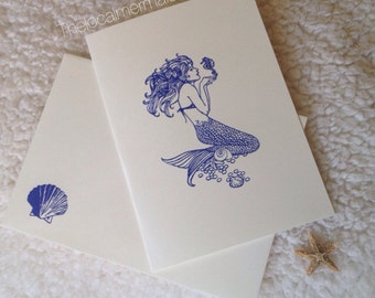 Set of 1 Mermaid stationary / mermaid letters/ mermaid invitations / mermaid card