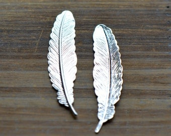 Small Feather Charms, SILVER, Brass Feather No Hole, Vintage Jewelry Supplies Smaller (BD075)