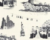 Robert Kaufman - Urban Toile - New York City - Natural - Cotton Canvas -Choose Your Cut 1/2 or Full Yard