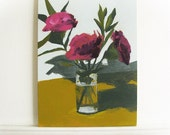 "still life painting ""January"" flowers in a vase on Masonite panel"