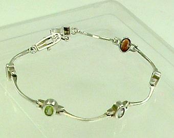 Gemstone 925 Wave Bracelet, Colorful Mixed Gem Sterling Silver Bracelet, Elegant 925 Amethyst Garnet Citrine Peridot Aqua Gem Line Bracelet
