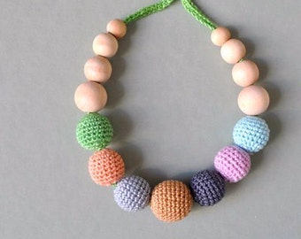 Earthy  Nursing Necklace/Teething Necklace-Breastfeeding Necklace-Eco-Friendly-Baby Teether-Mother's day