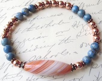 Denim Lapis, Copper and Sardonyx Stretch Unisex Bracelet