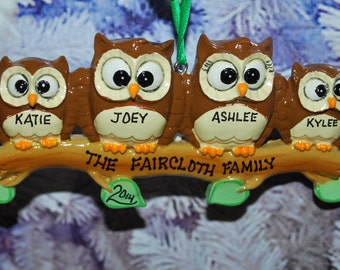Personalized Family of 4 Owl Ornament