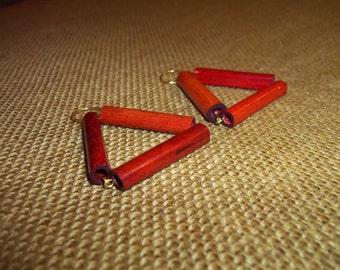 Kujitia Red Wood Triangle Earrings