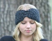 Winter Earwarmer Chunky Crochet Headband Wide Headwrap Charcoal