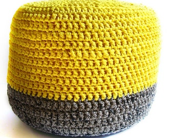 THE JUST RIGHT Crocheted Pouf -ottoman, foot stool, floor pillow - you choose color