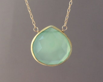 Green Chalcedony Stone Bezel Set Gold Necklace