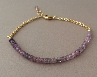 Ombre Purple Sapphire Gemstone Beaded Gold Bracelet also available in Silver