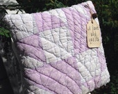 Olde Quilt~ Primitive Pillow Tuck~ handmade vintage quilt decoration~ purple~ lilac~ blue~ white Primitive Rustic Country