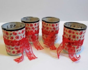Decoupage Candle Holders // Votive or Tea Light //Red Poppies with Vintage Sheet Music // Handmade Gift // Set of 4