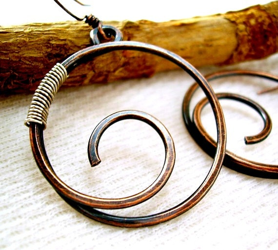 copper jewelry wire wrapped jewelry handmade wire earrings