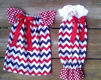 4th of july Chevron dress, peasant dress, monogram dress, baby chevron, toddler girl children Mudan 3m-7/8 matching brother sister