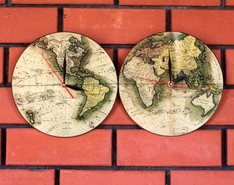 Wall clock - Vintage World map Clock - Photo clock - Poster - Personalized Wall Clock