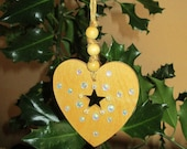 Hanging Birch Wood & White Rhinestone Heart Decoration - Christmas -  Tree - Ornaments