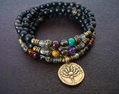 Women's Seven Chakra Labradorite Mala Necklace or Wrap Bracelet - Yoga, Buddhist, Meditation, Prayer Beads, Jewelry