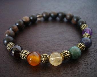 Women's Seven Chakra Mala Bracelet // Simple Chakra Mala Bracelet // Yoga, Buddhist, Meditation, Prayer Beads, Jewelry