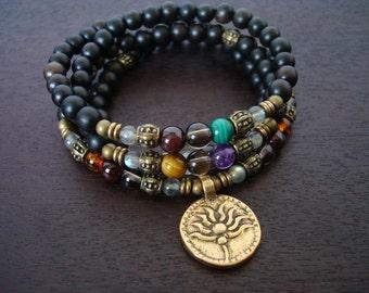 Women's Seven Chakra Labradorite Mala Necklace or Wrap Bracelet // Yoga, Buddhist, Meditation, Prayer Beads, Jewelry