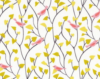 Tweetly Tweet Birds in Pink - House and Garden by Michelle Engel Bencsko for Cloud 9 - Organic Fabrics - 1/2 yard, Additional Available