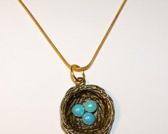 Pretty Bronze Bird's Nest Necklace w/Blue Eggs #2
