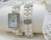 Elegant Swarovski White Pearl Watch and Matching Bracelet Set