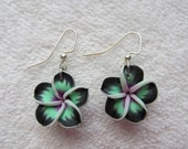20mm Hawaiian Mint Green Plumeria Frangipani Polymer Clay Dangle Earrings with Black Tips, White Edges and a Bright Violet Purple Center