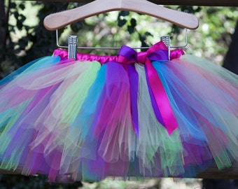 Paige Birthday Tutu, 1st Birthday Tutu, Rainbow Tutu