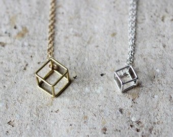 Solitary cube necklace, handmade sterling silver geometric 3d necklace, tiny cube, modern design, minimal, 14k vermeil