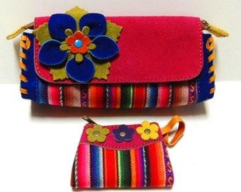 SET Hobo Peruvian Handmade Multicolor Genuine Suede Leather Women's Clutch & Coin Bag