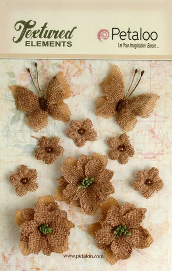30% OFF TODAY ONLY - Petaloo - Burlap Blossoms and Butterflies Collection - Natural (1201-000)
