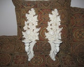 Reserved for Annee WHITE CANDLEHOLDERS SCONCES  - Vintage Plastic Syroco - Mediterranean, Tuscany, Shabby Chic, Art Nouveau