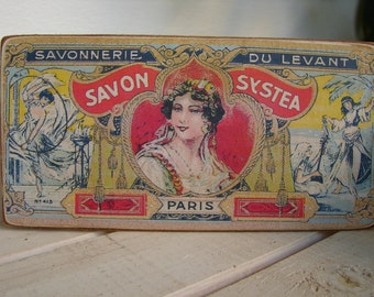 French savon systea,Paris,vintage style soap label on wood,shabby chic,savon sign