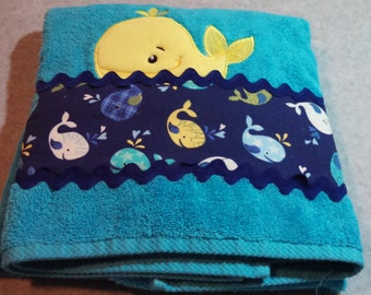 Turquoise Bath Towel With Whale Applique