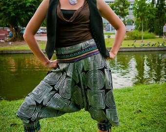 20% Off Thai pants  / Capri Pants, Batik Cotton, Hmong Hill Tribe Style, Black&White Infinity Print w Colorful Details